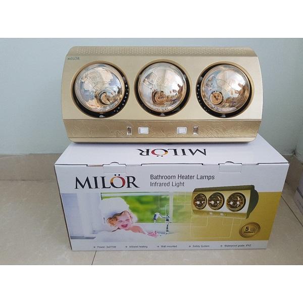Đèn sưởi phòng tắm 3 bóng vàng Milor