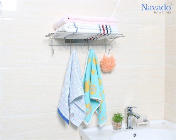 Kệ vắt khăn giàn hít dán tường thiết kế đơn giản, thanh lịch