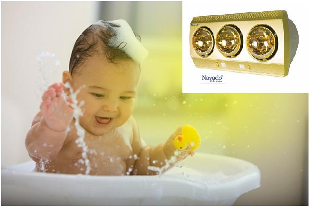 Đèn sưởi phòng tắm hồng ngoại bóng vàng với nhiều tính năng tiện ích
