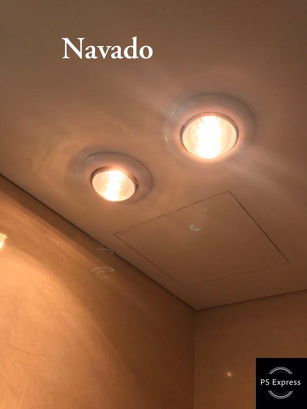 sử dụng đèn sưởi nhà tắm bóng vàng